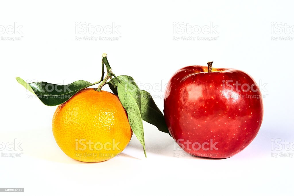 Apple with mandarin royalty-free stock photo