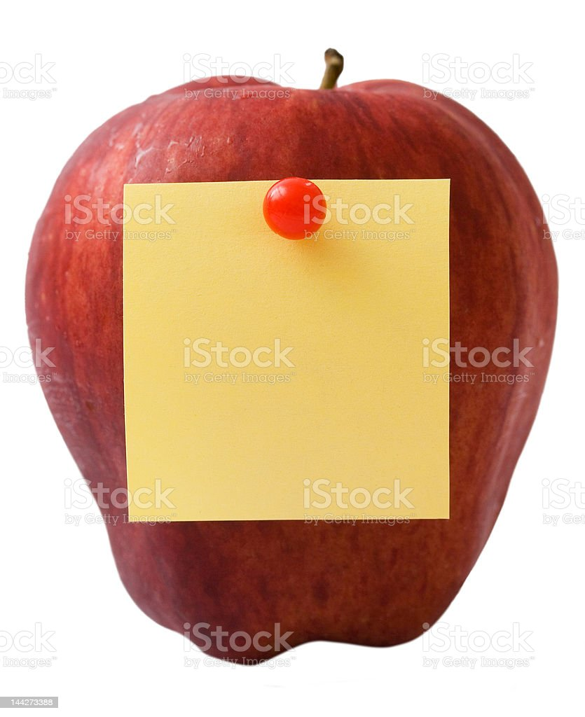 Apple with note royalty-free stock photo