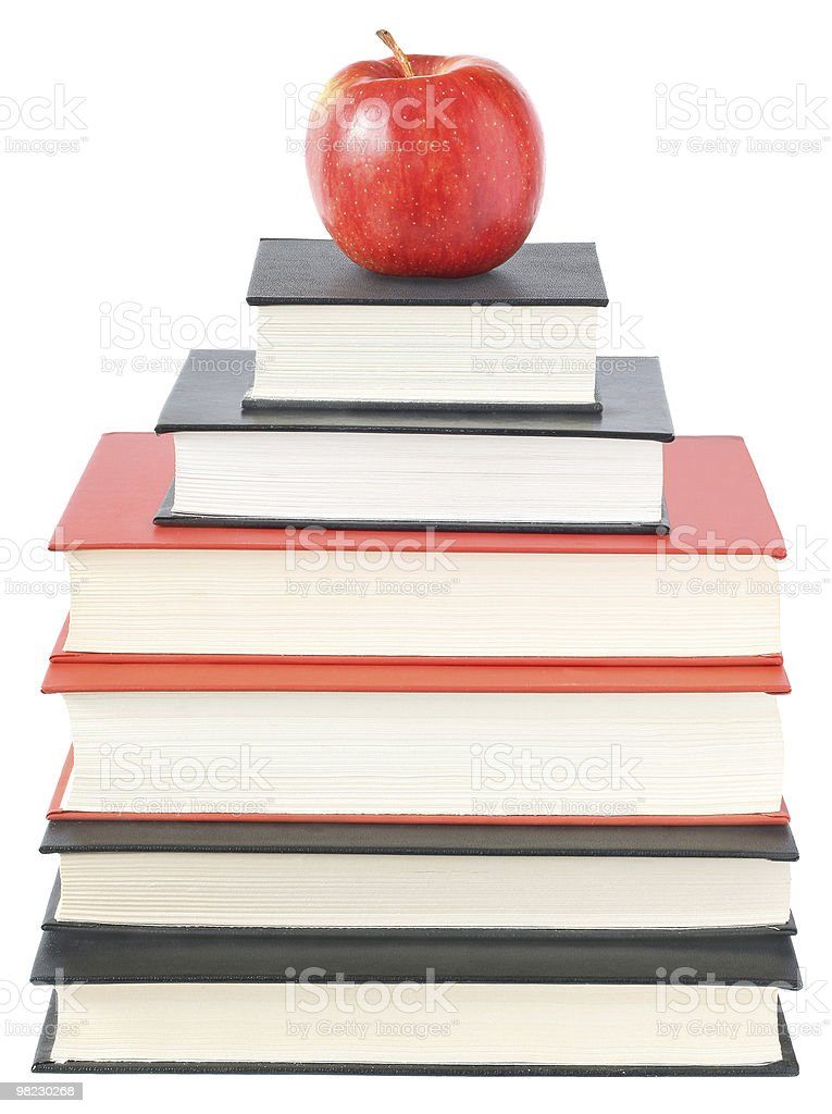 Apple with the books royalty-free stock photo