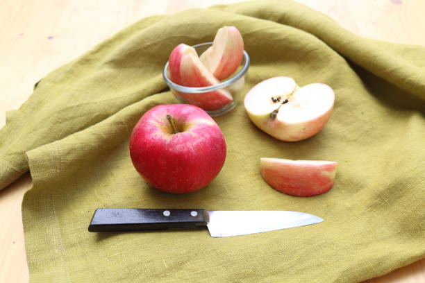 apple_fruit_with_knife stock photo