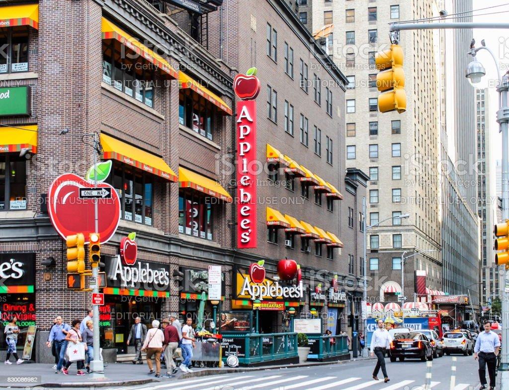 Applebee's Restaurant in Manhattan. Applebee's is a popular franchise restaurant in neighborhoods all across North America. stock photo