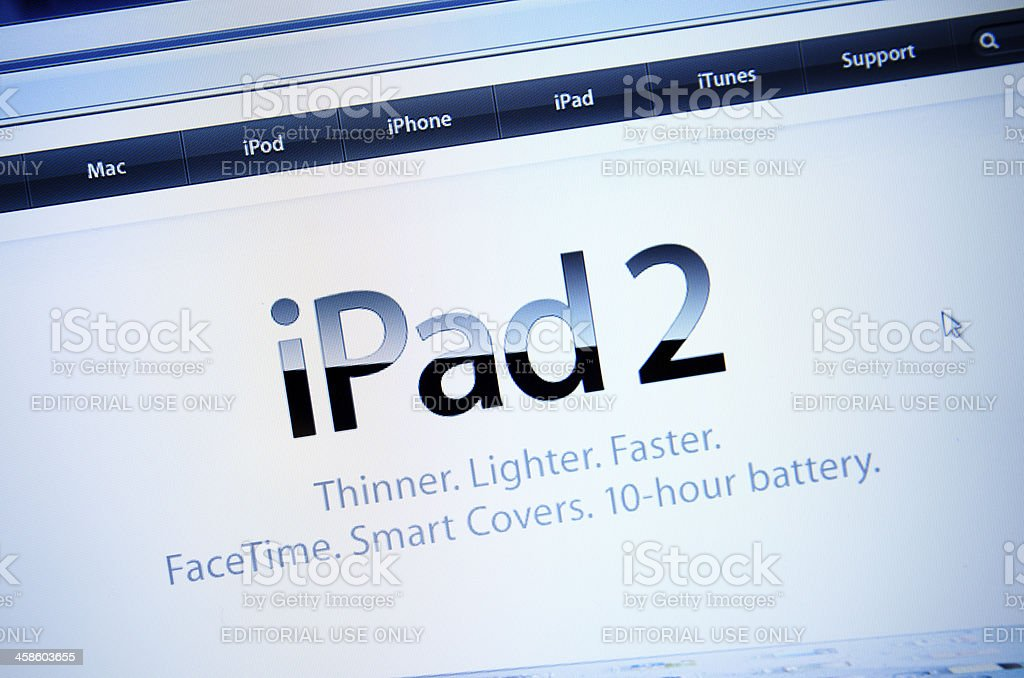 Apple.com main page after the IPAD 2 release royalty-free stock photo