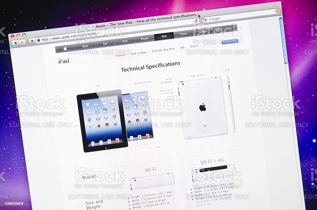 Apple.com tech specs web page after the IPAD 3 release royalty-free stock photo