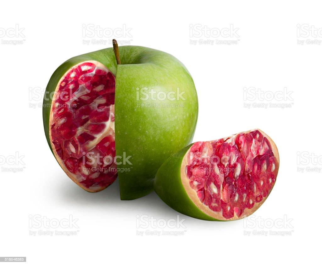 Apple-pomegranate stock photo