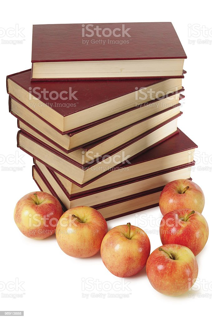 Apples and books. Educational concept. royalty-free stock photo