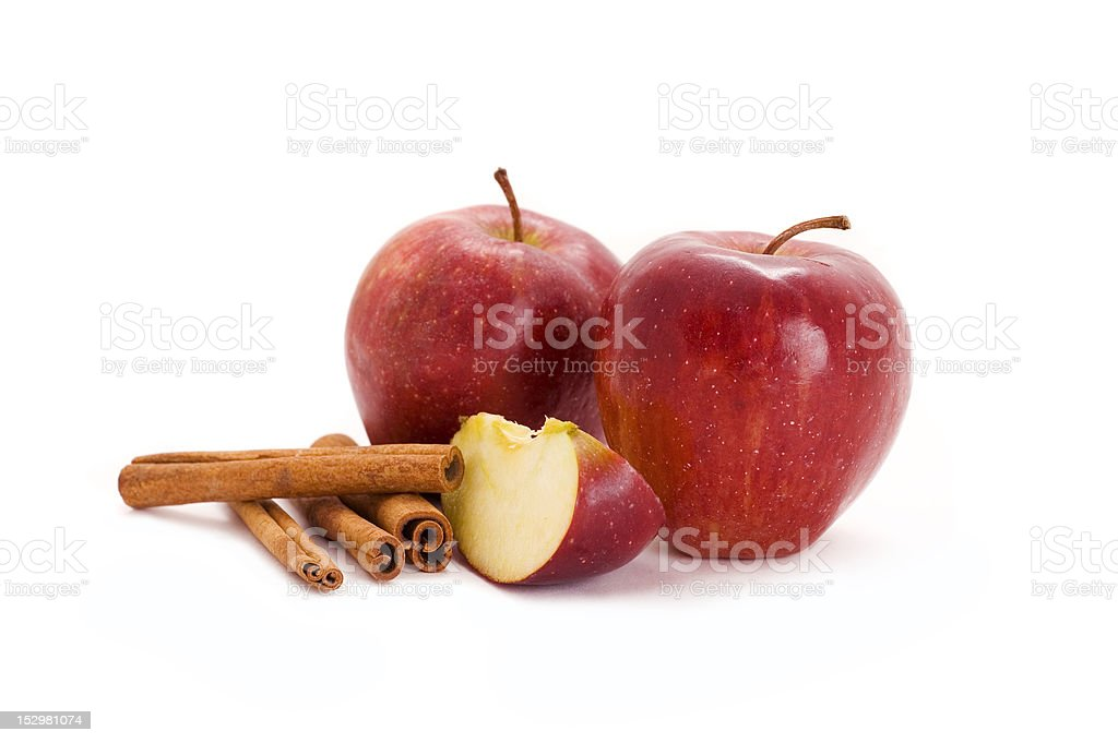 apples and cinnamon stock photo