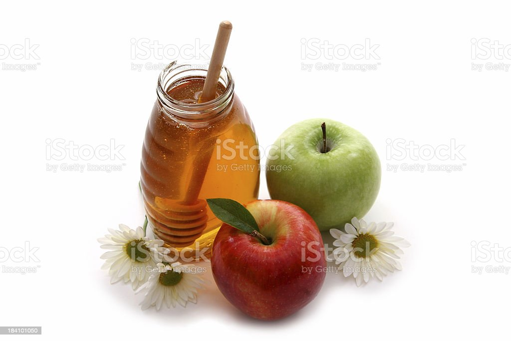 Apples and honey 3. stock photo