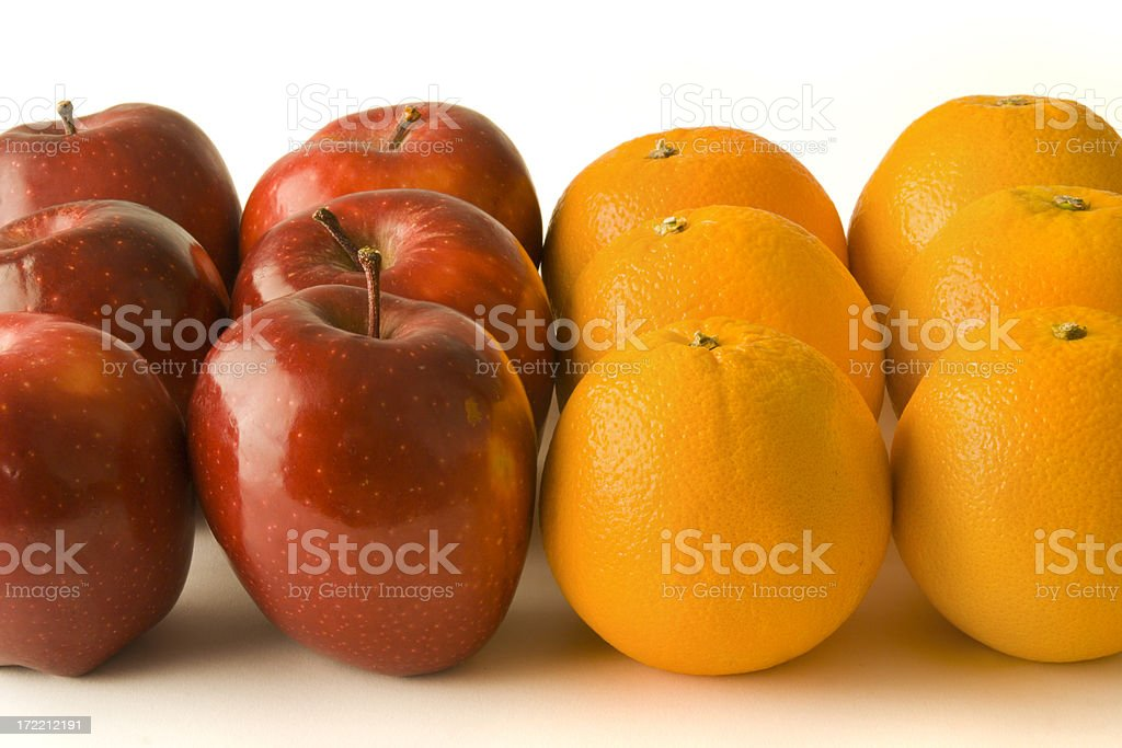 Apples and Oranges, Comparisons for Racism, Discrimination, Contrasts, Prejudices, Conflicts stock photo
