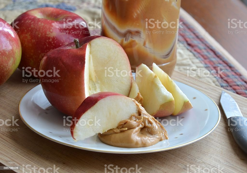 Apples and Peanut Butter Snack stock photo