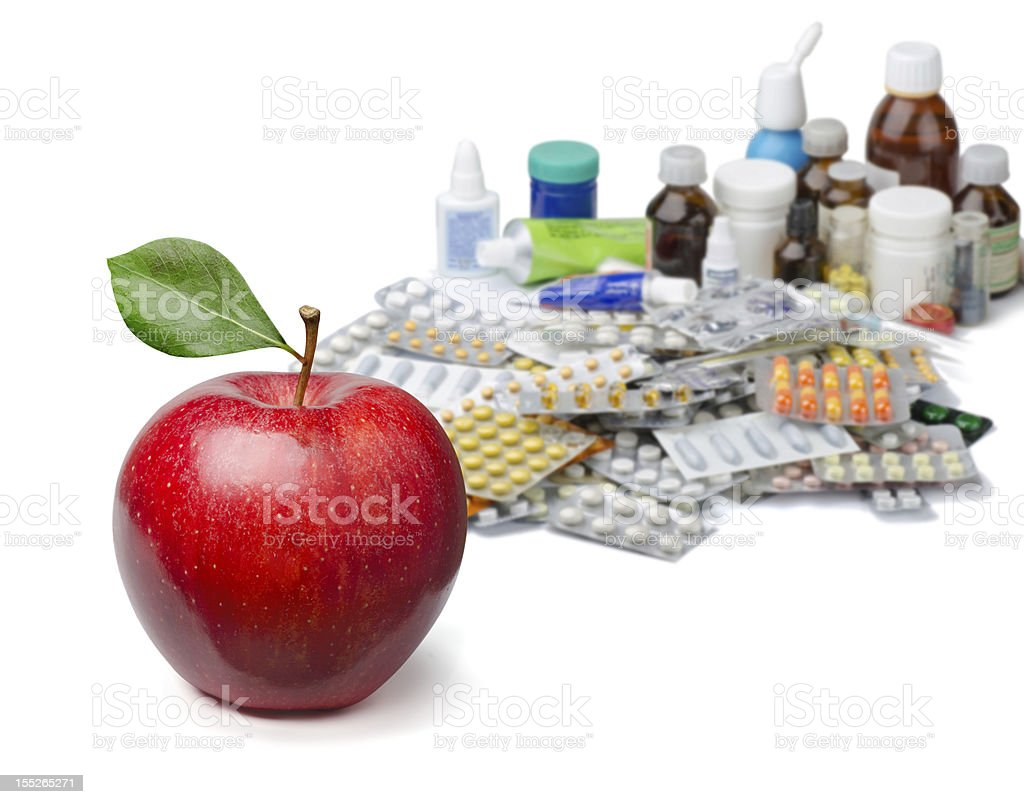 Apples and pills royalty-free stock photo