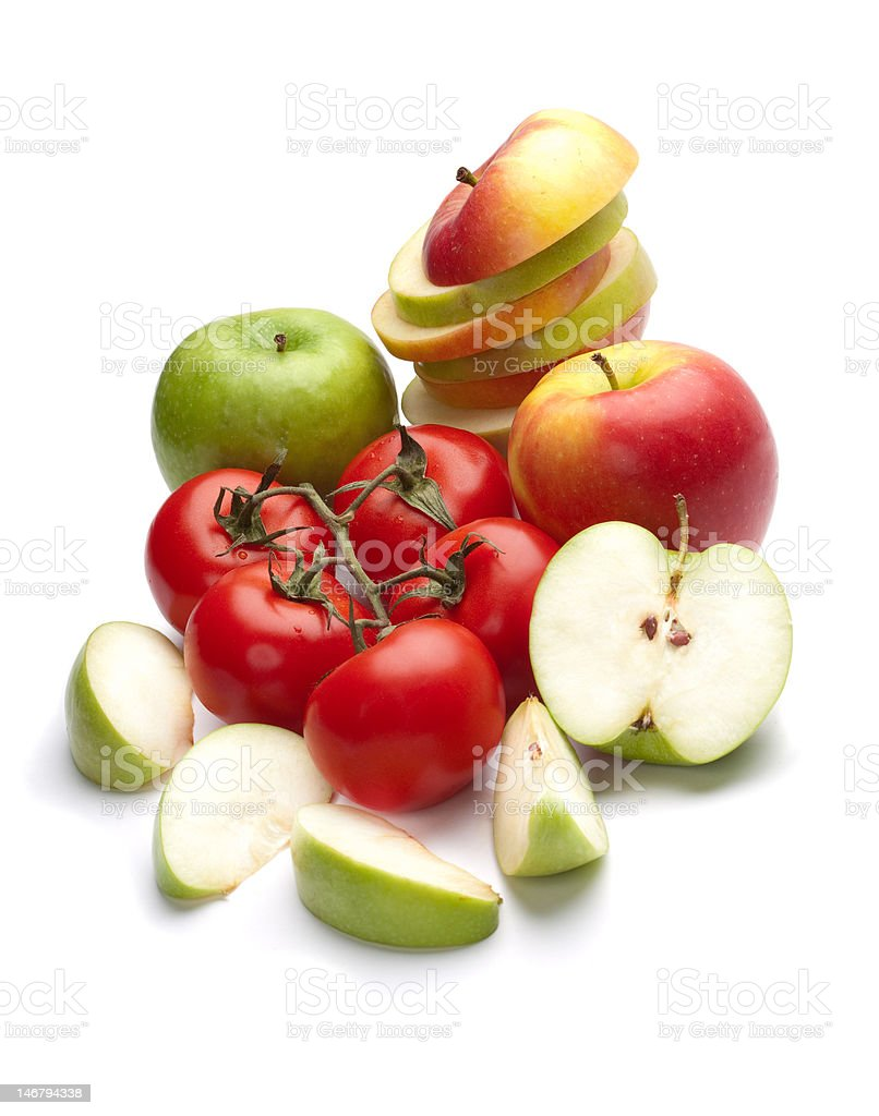 Apples and tomatoes royalty-free stock photo