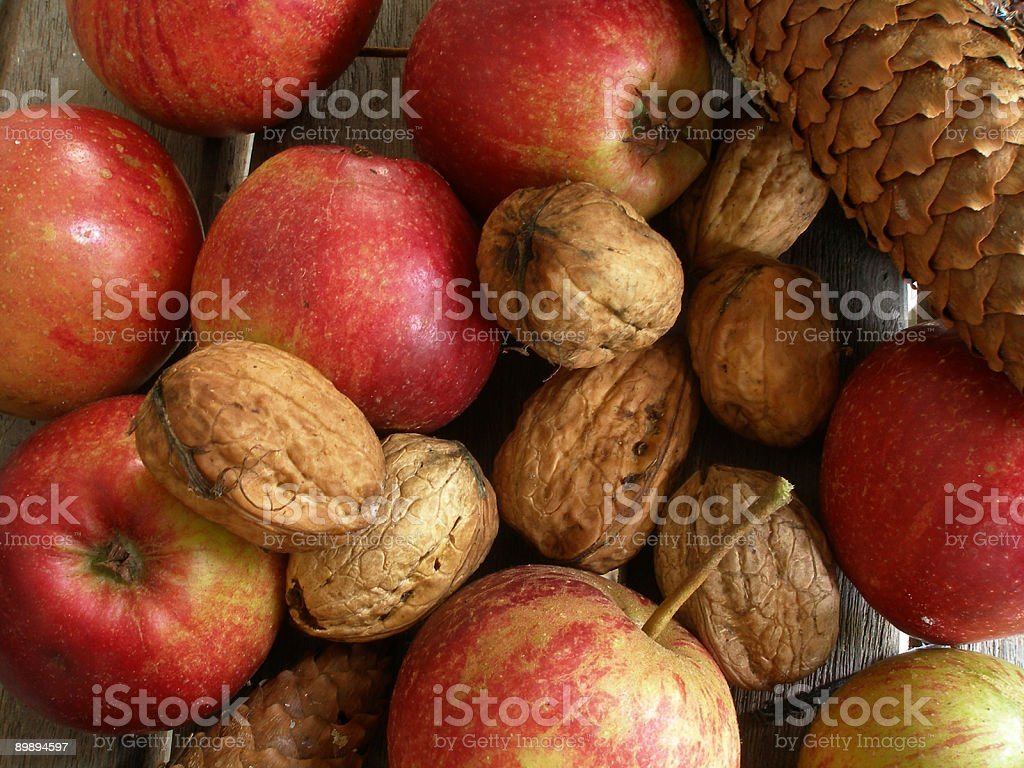 apples and walnuts royalty-free stock photo