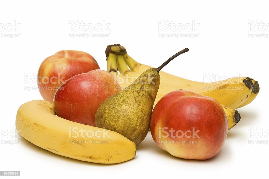 Apples, Bananas And Pear On White royalty-free stock photo