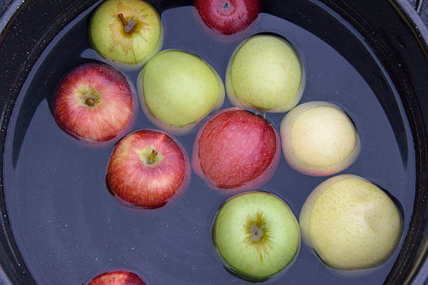 Apples Floating in Bucket for Dunking stock photo