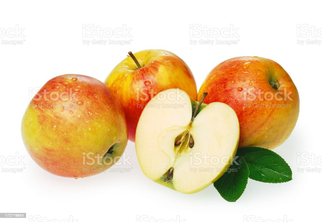 Apples + half Apple with Leaf royalty-free stock photo