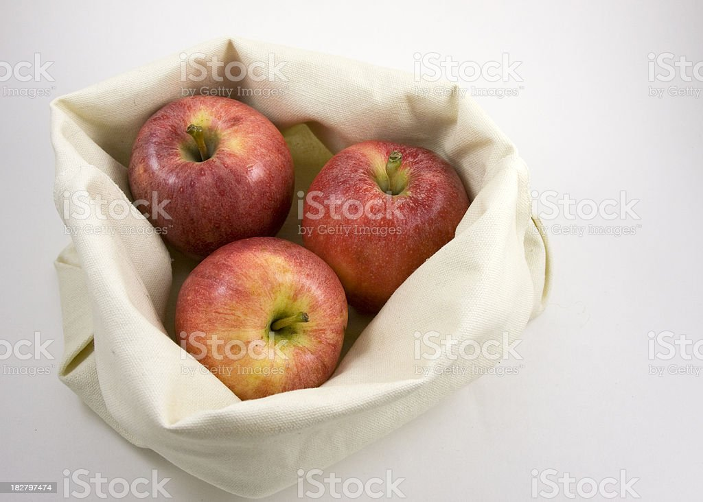 Apples in a Canvas Bag stock photo