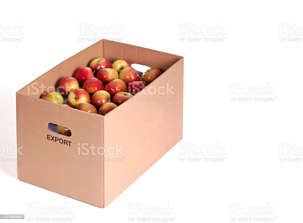 Apples In A Cardboard Shipping Box stock photo