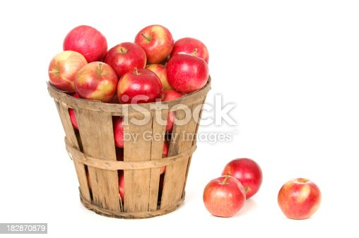 A fresh picked basket of ripe red apples.