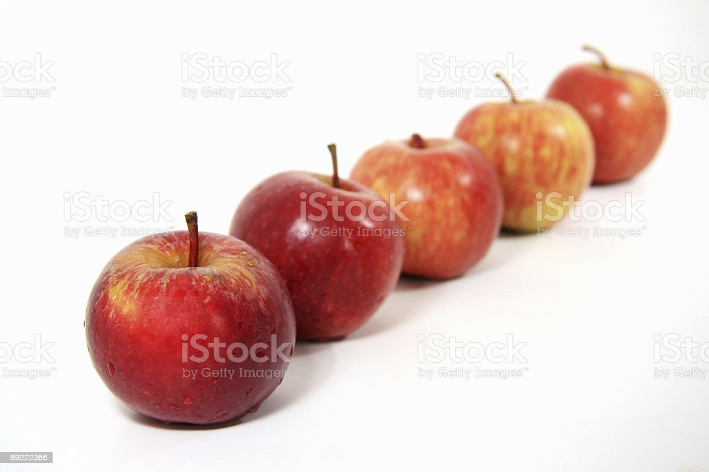 Apples in a row stock photo