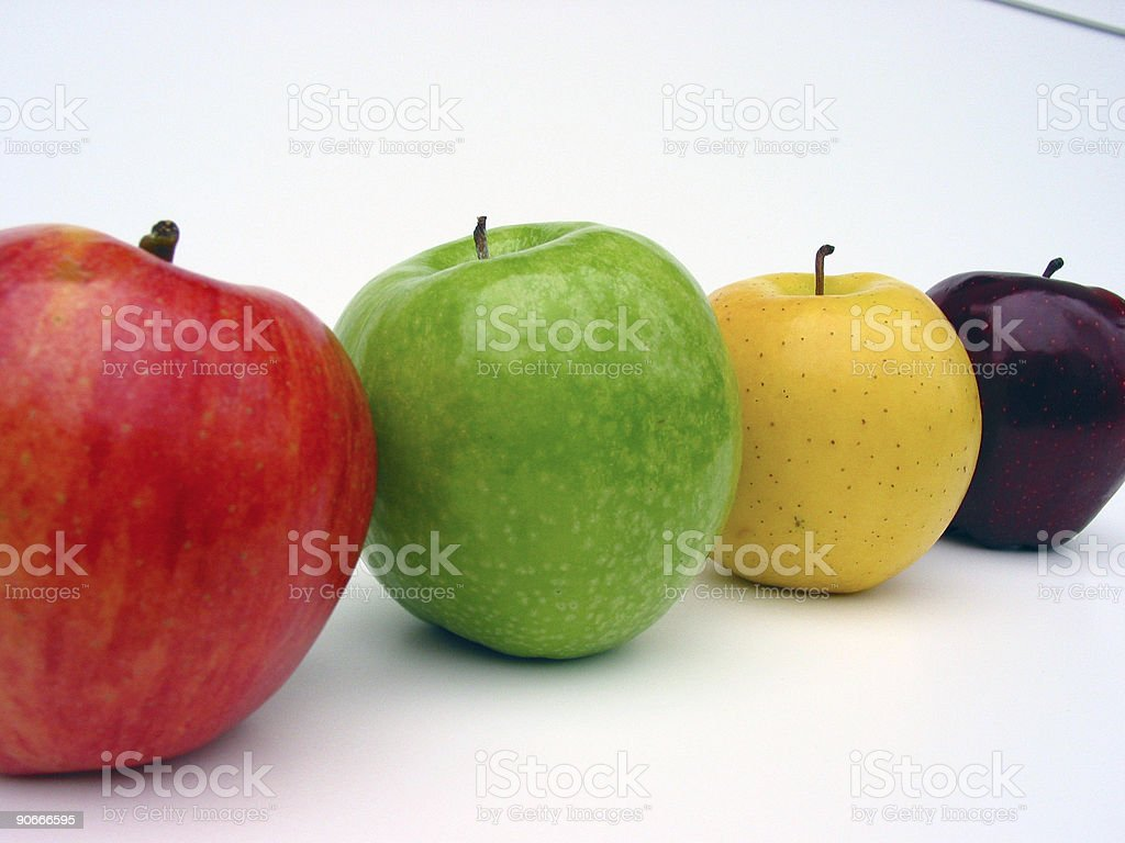 Apples in a row royalty-free stock photo