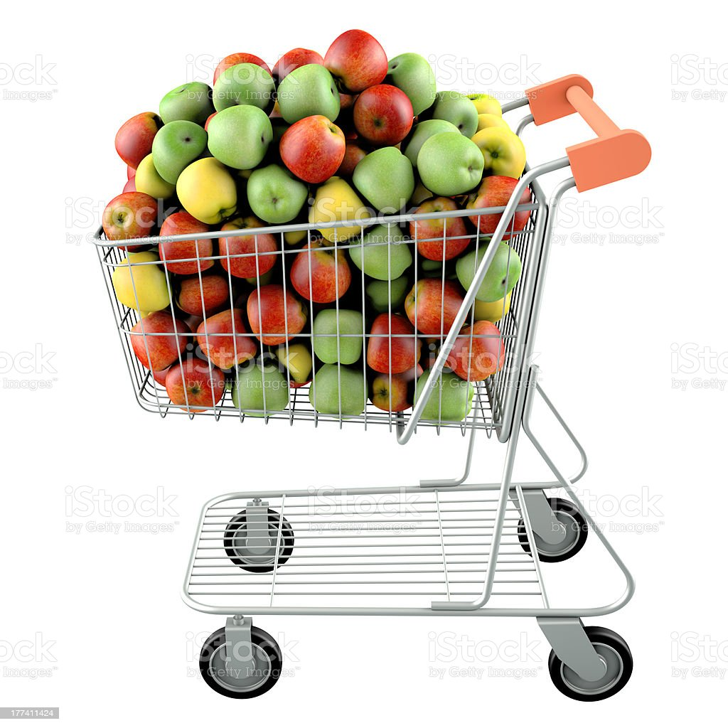 Apples in a shopping cart stock photo
