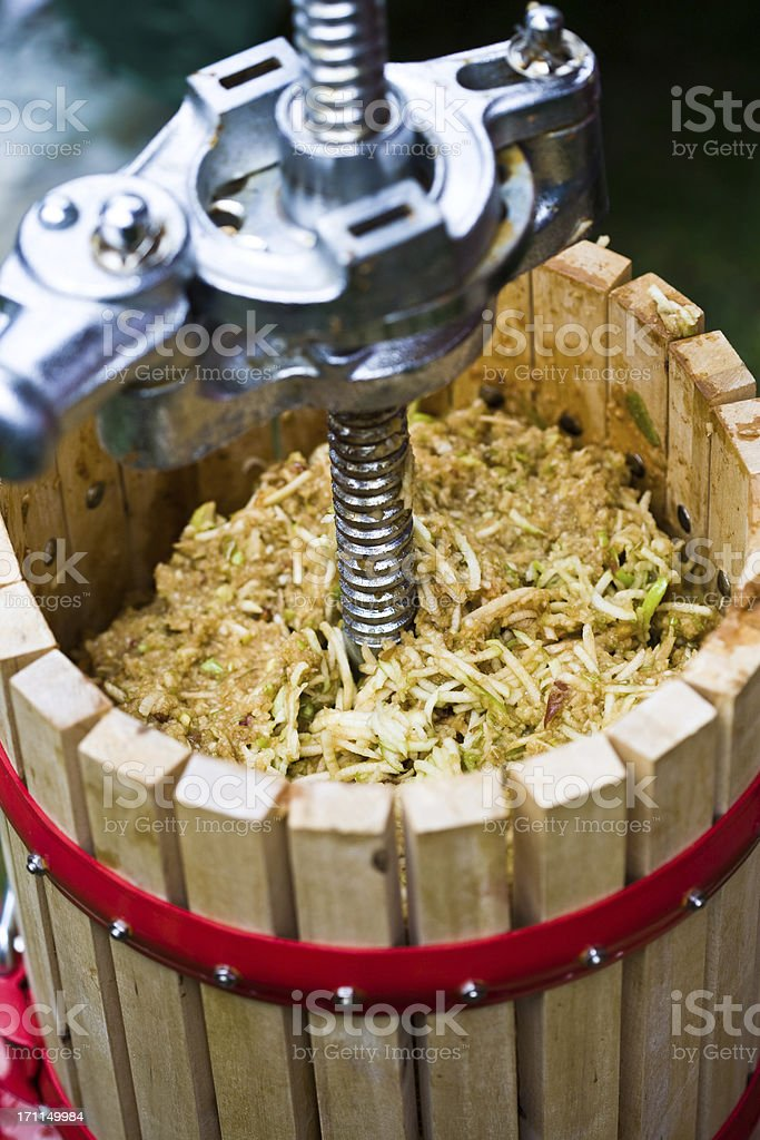 Apples in an Cider Press stock photo