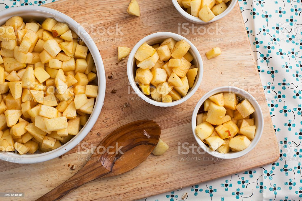 Apples in Baking Dishes stock photo