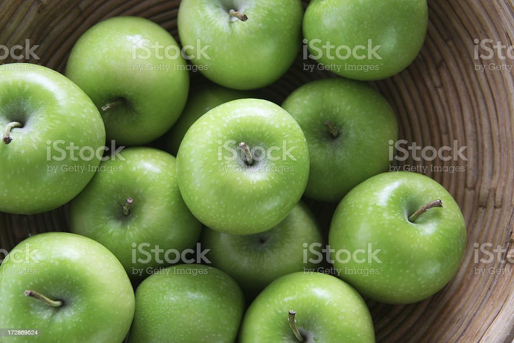 apples in basket stock photo