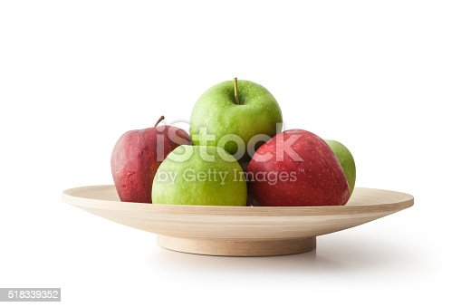 Apples in Bowl, Isolated on white, Clipping Path