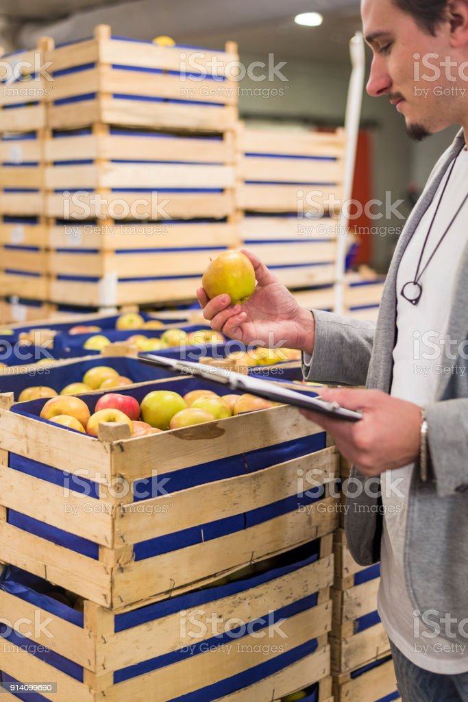 Apples in warehouse stock photo