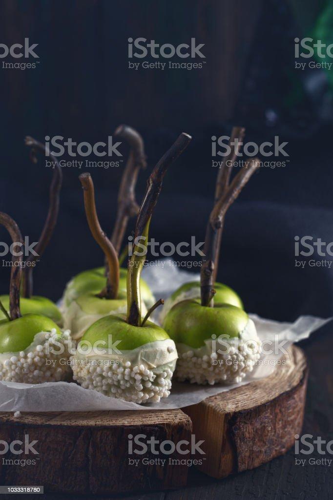 Manzanas de chocolate blanco - foto de stock