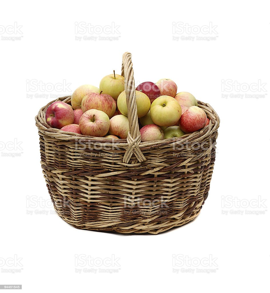 apples in woven basket royalty-free stock photo