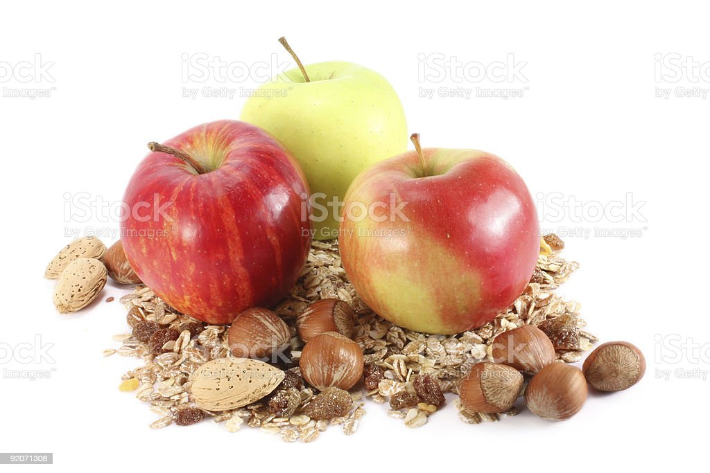 Apples, nuts and cereals royalty-free stock photo