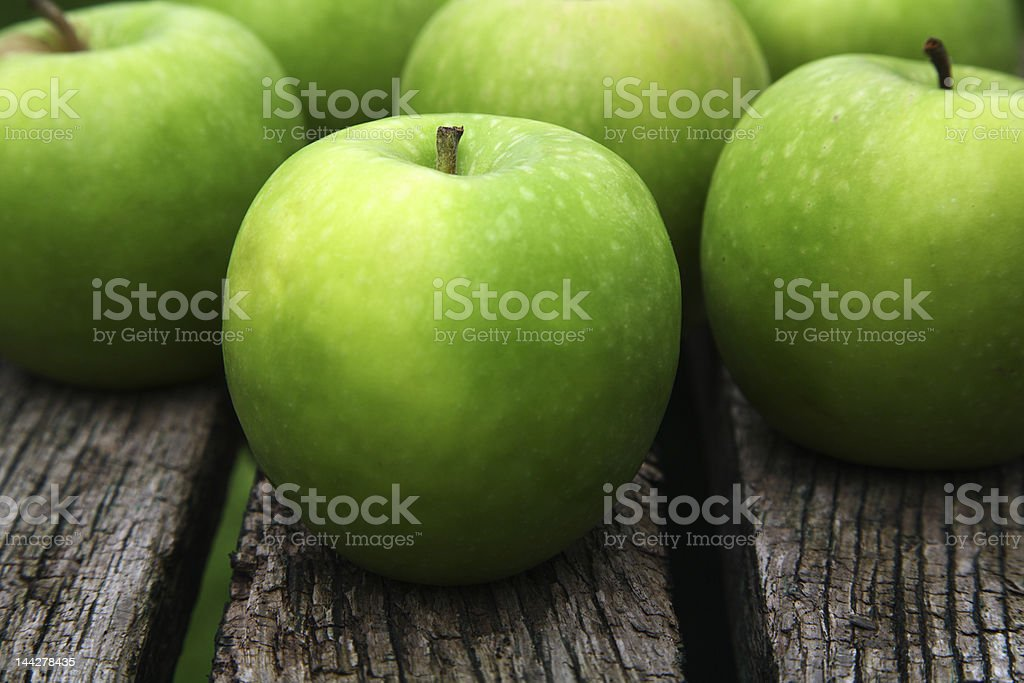 Apples on a bench stock photo