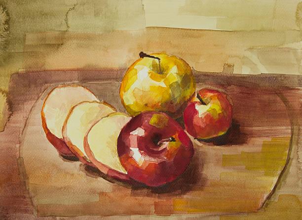 Manzanas en tablero de corte aún vida pintura de acuarela - foto de stock