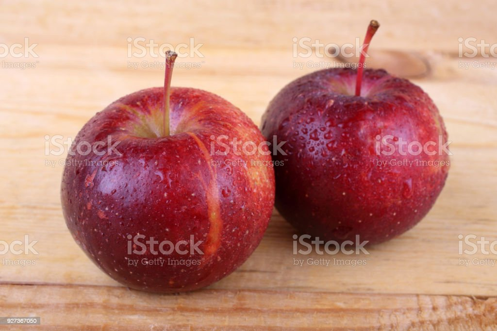 Apples on table Apple harvest Agriculture Stock Photo