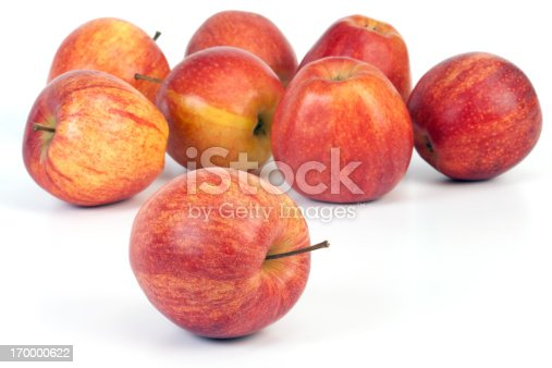 Apples isolated on white background. Multicolor and selective focus.