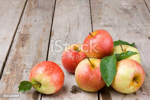 Apples on garden table