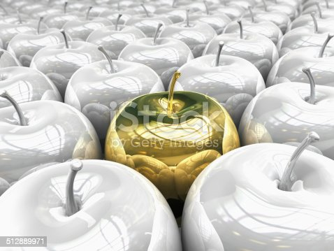 silver apples of golden apple 3d render (clipping path and isolated on white)