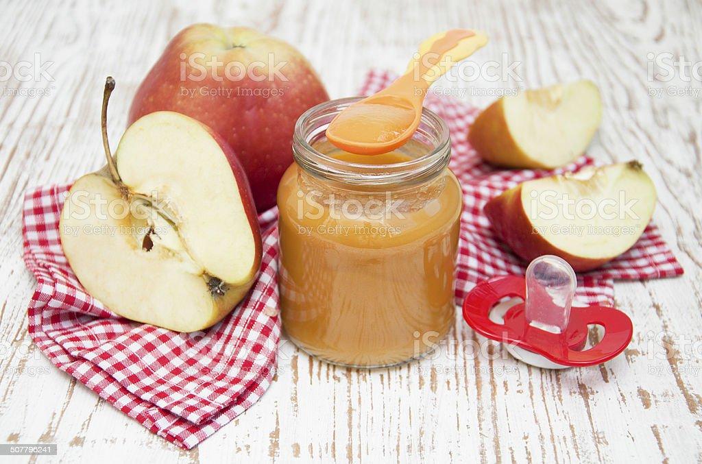 Apples puree in jar stock photo