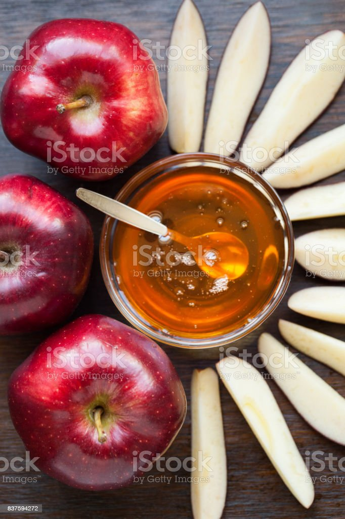 Apples with honey stock photo