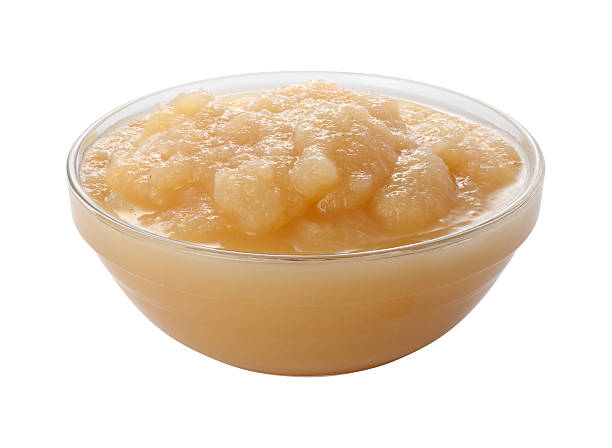 Applesauce in a Glass Bowl (clipping path) stock photo