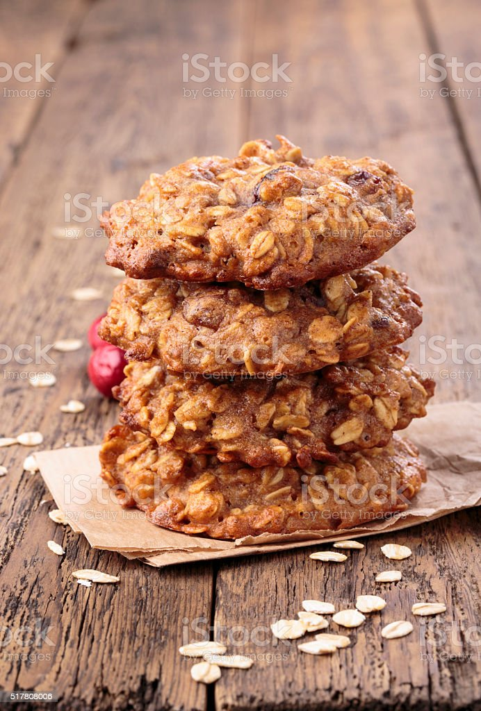 Applesauce Oatmeal Cookies With Dried Cranberries Top View Stock
