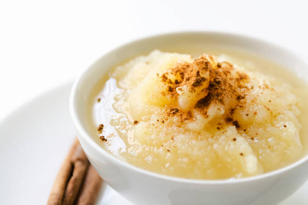 Applesauce with Cinnamon in a White Bowl Horizontal stock photo