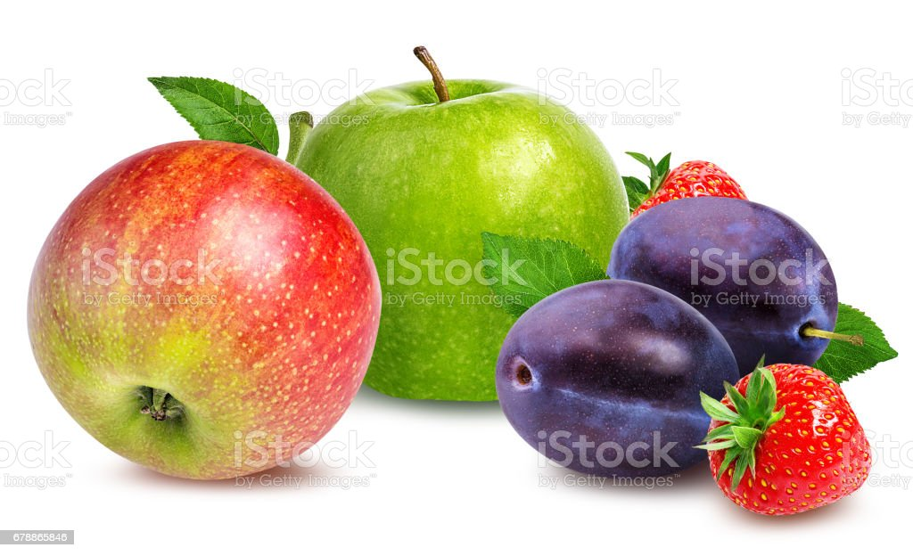 apples,plum   and strawberries isolated on white stock photo