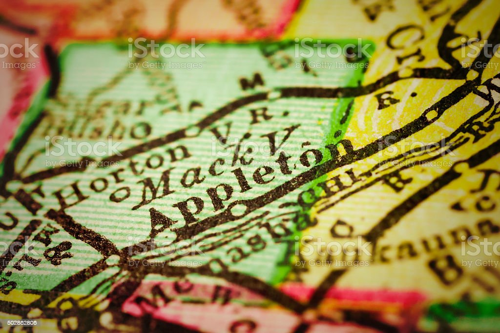 Appleton, Wisconsin on an Antique map stock photo