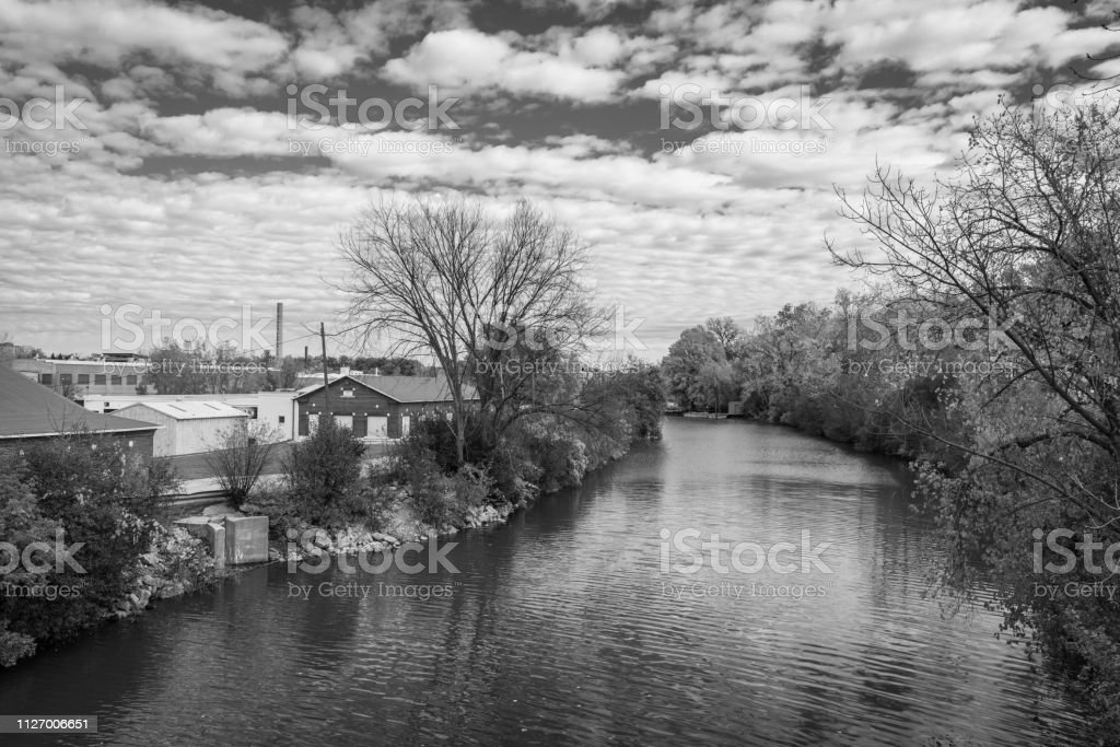 Appleton Wisconsin River stock photo