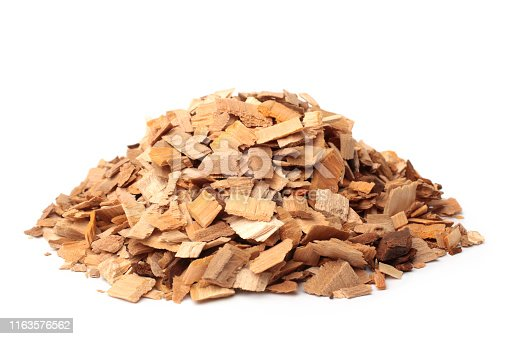 Apple-tree wood chips on white background