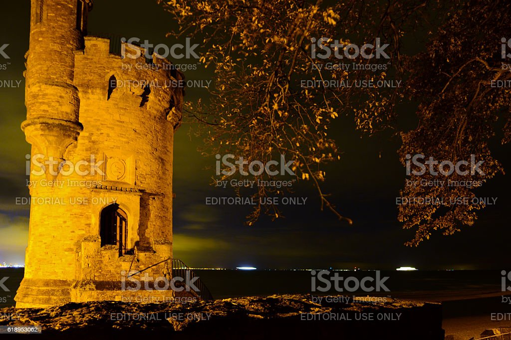 Appley Castle Tower and Portsmouth City at Night stock photo
