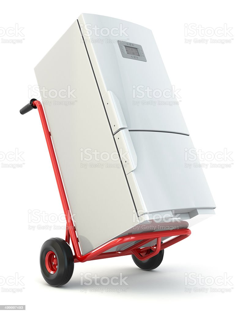 Appliance delivery. Hand truck and fridge. stock photo